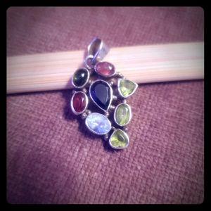 Jewelry - Sterling Silver Multi-Gemstone Pendant..